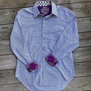 Robert Graham Striped Flip Cuff Dress Shirt •Large